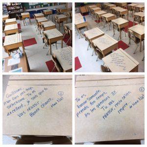 Messages encourageants écrits par une enseignante
